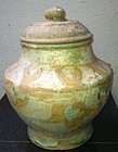 Chinese green glaze baluster cover vase