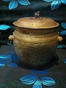 Chinese brass work vessel container with cover