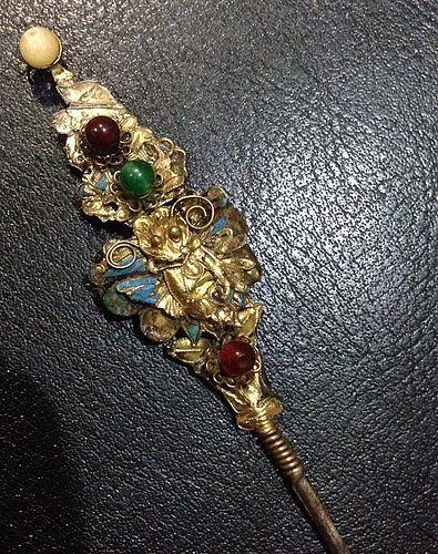 Qing Chinese era gilt gold hairpin
