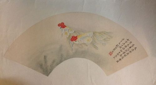 Chinese fan painting of goldfish