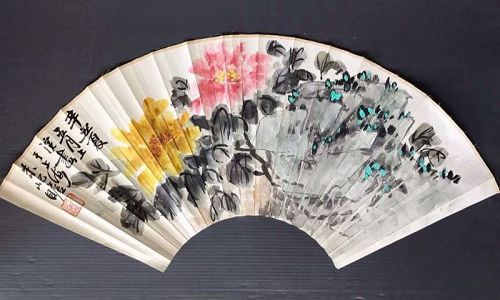 Chinese Mutan Flower fan painting