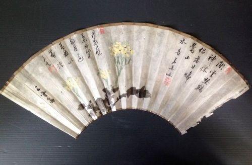 Japanese fan painting of flower