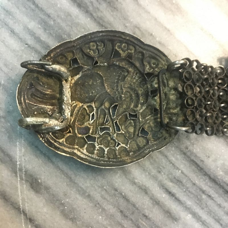 Peranakan silver belt and buckle