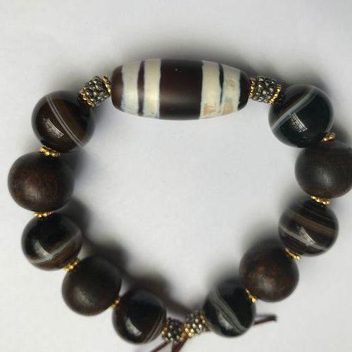 Ancient style dzi bead bracelet