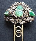 Chinese Gilt Silver Hairpin with Jade