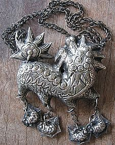 China Miao Tribal People Silver Pendant & Necklace