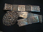 Straits Chinese Silver Ornamental Buckle and Belt