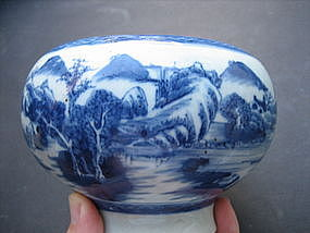 Blue and White landscape Brush Washer