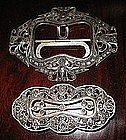 Indonesian Silver Belt Buckle with Stone