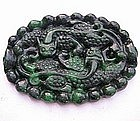 Green Jade Stone Carving Pendant of Han Dragon