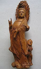 Wood Carving of Guan Kwan Yin Statue