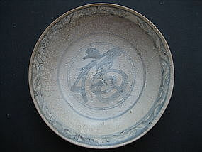 Ming Dynasty Swatow Blue and white Fu Plate