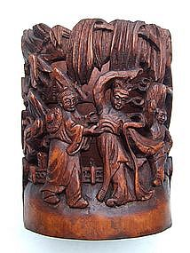 Chinese Bamboo Bitong Brush Pot