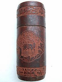 Qing Bamboo Tea Caddy Container for Scholar