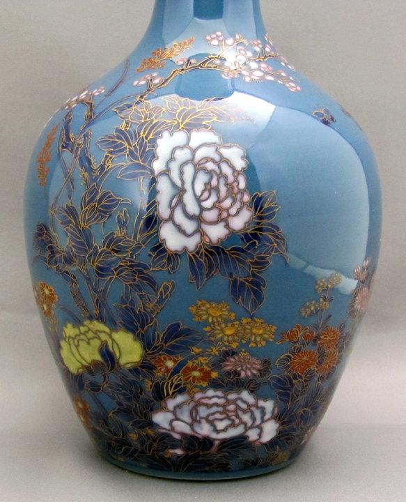 Pair of unusual Koransha porcelain vases