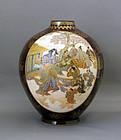 Fine Satsuma earthenware vase by Kinkozan