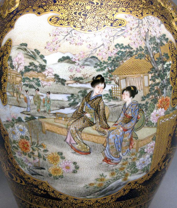 Fine cobalt Satsuma earthenware vase by Kinkozan