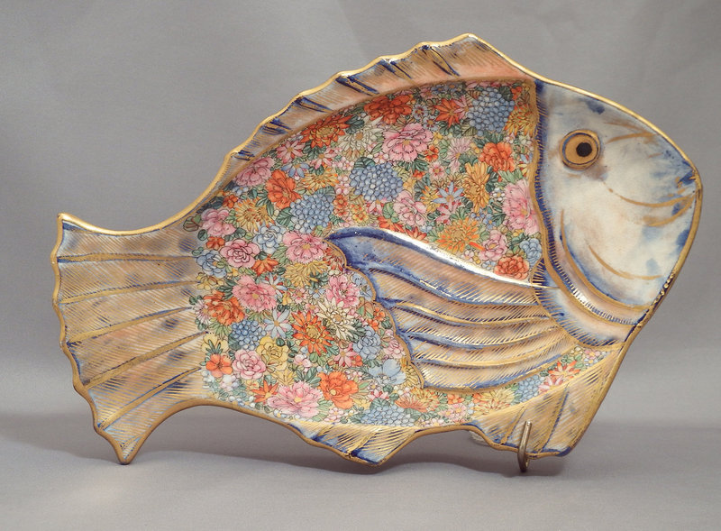 Japanese Satsuma Fish Form Plate