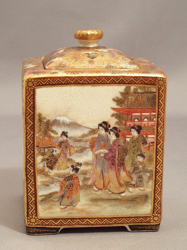 Finely Decorated Satsuma Koro--Artist signed