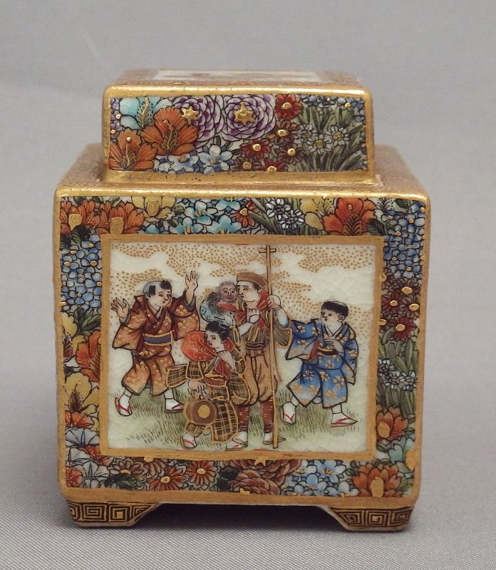 Fine Miniature Satsuma Covered Box by Ryozan