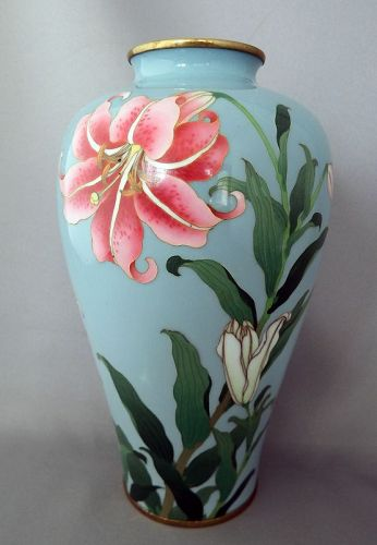 Japanese Cloisonne vase with lily designs by Gonda