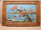 Japanese cloisonne plaque with birds and flowers