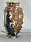 Unusual 3 panel Japanese cloisonne vase