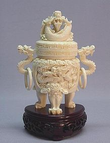 CHINESE IVORY CARVING OF AN INCENSE BURNER