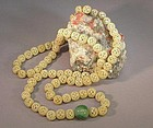 19TH C. CHINESE CARVED IVORY BEAD NECKLACE