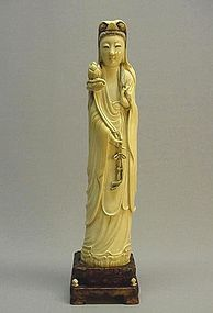LATE 19TH CENTURY IVORY CARVING OF GUAN-YIN