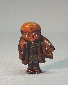 EARLY 19TH C. JAPANESE PRESSED HORN NETSUKE