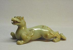 CHINESE 19th CENTURY JADE CARVING OF PIXIU