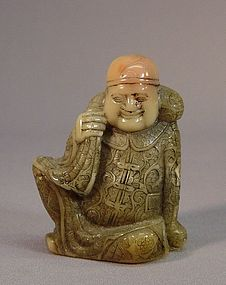 CHINESE SEAL STONE CARVING OF A MERCHANT