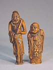JAPANESE TWO CARVED WOOD NETSUKE