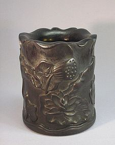 CHINESE CARVED HARD WOOD BITONG (BRUSH HOLDER)
