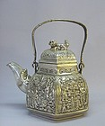 CHINESE 19TH CENTURY SILVER ALLOY TEAPOT