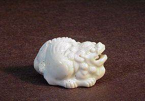 JAPANESE LATE MEIJI CERAMIC NETSUKE