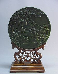 CHINESE JADE CARVED ROUND PANEL WITH WOOD STAND