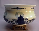 CHINESE LARGE KANGXI BLUE AND WHITE INCENSE POT