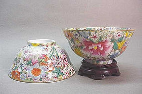 PR. CHINESE FAMILLE ROSE MILLE FLEURES BOWLS