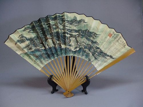 Chinese painted fan by Li Xiongcai (���)