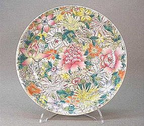 CHINESE FAMILLE ROSE MILLE FLEURES PLATE