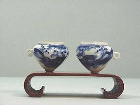 Chinese Blue & White Porcelain Bird Feeders