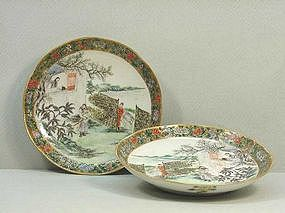 Pair of Chinese Famille Verte Plates