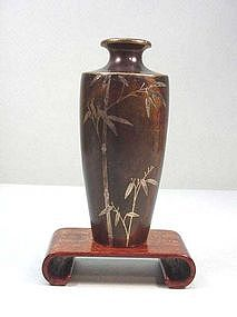 Japanese Inlaid Bronze Vase