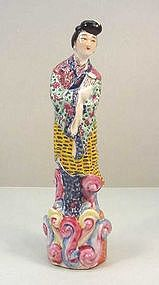 Chinese Hand Painted Porcelain Statue