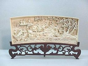 Chinese 19th C. Carved Ivory Panel