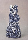 QING DYNASTY BLUE & WHITE DRAGON HEAD VASE