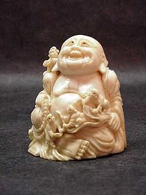 Chinese Ivory Hotai with Children