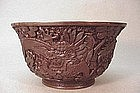 CHINESE EXPORT LACQUER CINNABAR BOWL
